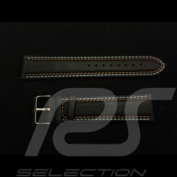 Watch strap Racing team black leather / Gulf blue and orange stitching