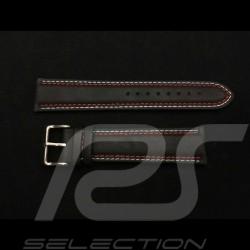 Bracelet de montre Racing Team cuir noir / surpiqures rouge Martini et bleu Watch strap Uhrenarmband