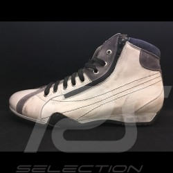 Hi-top Sneaker / basket high shoes style race driver off-white grey leather - men