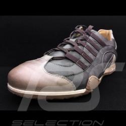 Chaussure Sport sneaker / basket style pilote cuir gris anthracite grey Anthrazit grau - homme men herren