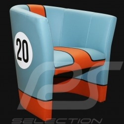 Fauteuil cabriolet Cabriolet chair Cabrio Stuhl Racing Inside n° 20 bleu Racing team / orange