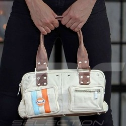 Gulf vintage handbag four pockets beige cotton / leather