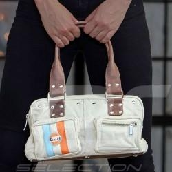 Gulf vintage Handtasche vier Taschen beige Baumwolle / Leder