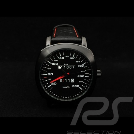 Porsche 911 Automatic Watch 300 km/h speedometer black cushion-shaped case / black dial / white numbers