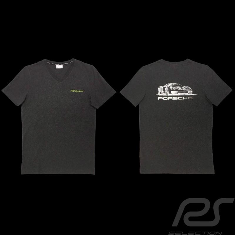 T-shirt 918 Spyder Col V Porsche Design WAP911 - mixte unisex gris V-neck grey V-Ausschnitt grau