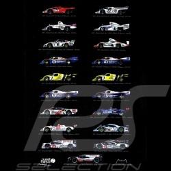 Poster Porsche Vainqueurs Le Mans Edition 19 victoires 50 x 70 oeuvre originale de Alain Baudouin
