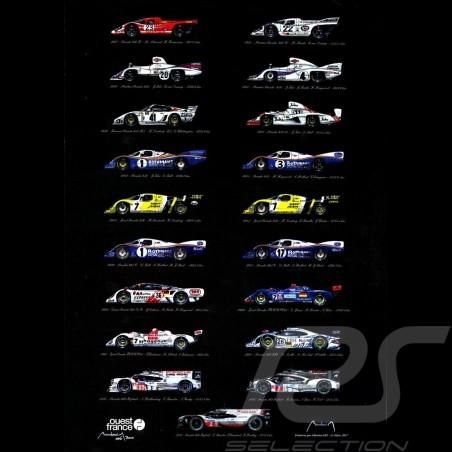 Porsche Poster Le Mans Winners 19 Victories Edition 50 x 70 original art by Alain Baudouin