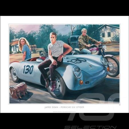 Porsche 550 Spyder James Dean / Ursula Andress 1955 Original Zeichnung von Benjamin Freudenthal