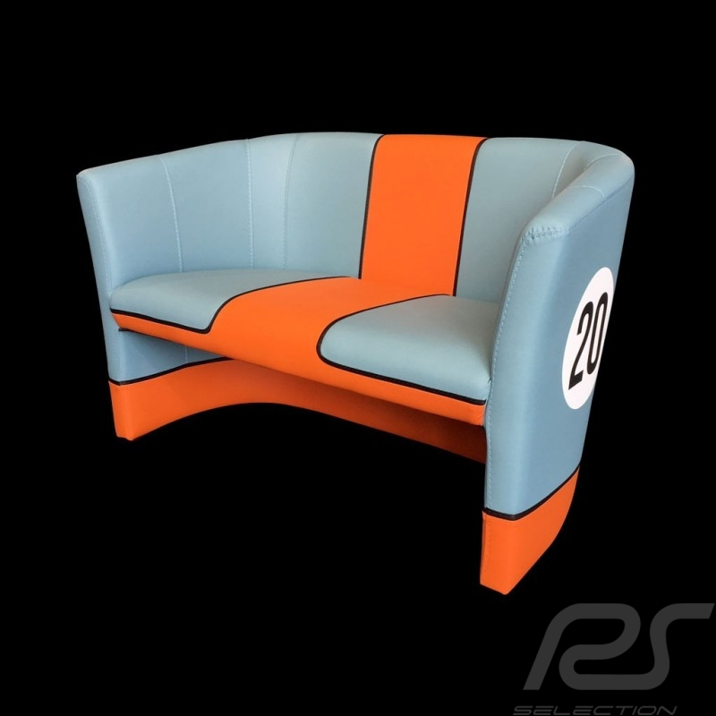 Fauteuil 2 places cabriolet Racing Inside n° 20 bleu Racing team / orange tub chair tubstuhl