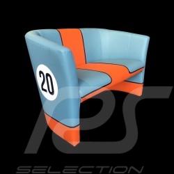 Two-places Tub chair Racing Inside n° 20 blue Racing team / orange