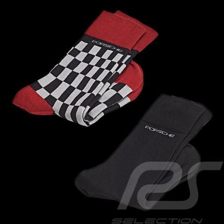 Chaussettes Socks Socken Porsche 2 paires gris rouge noir Porsche WAP423 / WAP424 - mixte