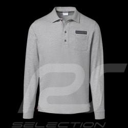 Porsche Rugby shirt Classic Collection light grey flecked long sleeves Porsche Design WAP714 - men