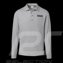 Porsche polo shirt Classic Collection light grey flecked long sleeves Porsche Design WAP714K  - men