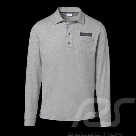 Porsche polo shirt Classic Collection light grey flecked long sleeves Porsche WAP714K  - men