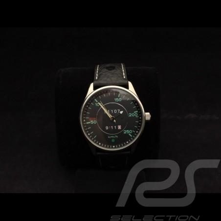 Automatikwerk Uhr Porsche 911 Tachometer chrom Gehause / schwarz Wahl / grüne  Zahlen
