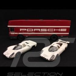 """Set """" 70 Ans Porsche"""" transporteur avec Porsche 908 courte et longue queue 1/43 Schuco 450372700"""