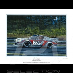 "Porsche Poster 911 Turbo RSR n° 22 Martini 24h du Mans 1974 "" Turbo Power "" 30 x 40"