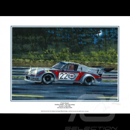 "Porsche Poster 911 Turbo RSR n° 22 Martini 24h du Mans 1974 "" Turbo Power "" 30 x 40"