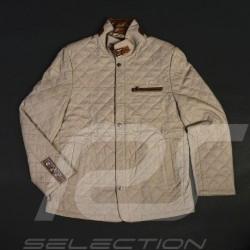 Veste cuir gentleman driver Derek Bell signature matelassée taupe - homme leather jacket Lederjacke