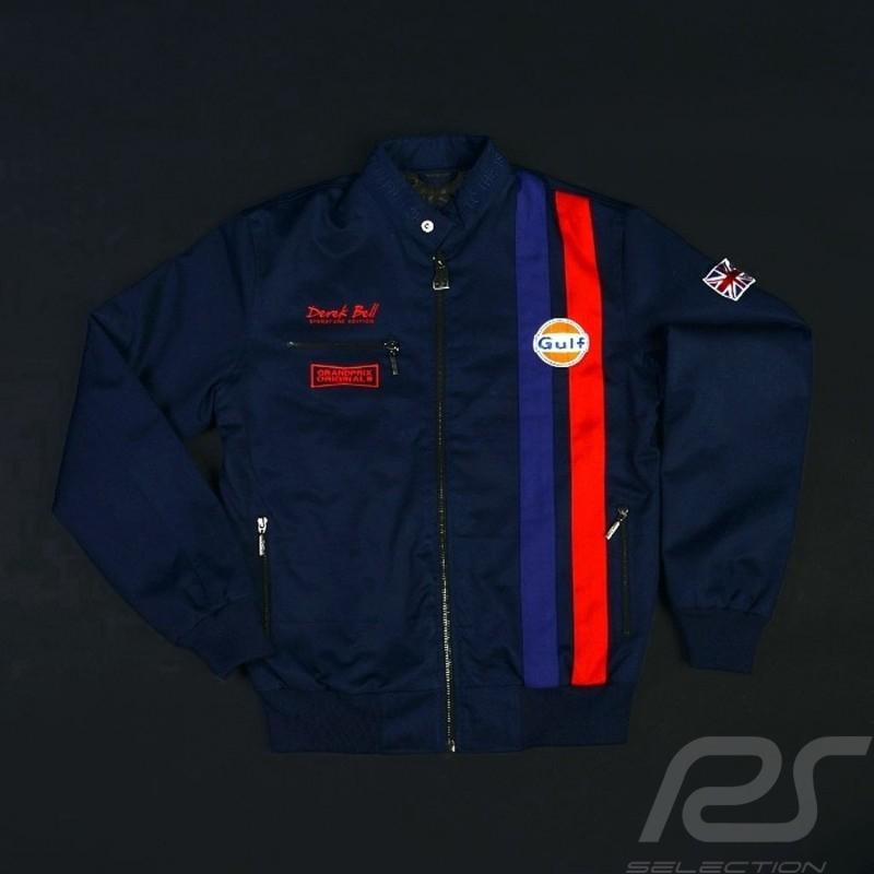 Veste Gulf Racing Derek Bell signature bleu marine - homme Jacket Jacke
