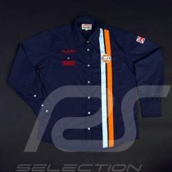 Gulf Racing Shirt Derek Bell signature navy blue - men
