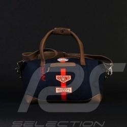 Sac de voyage Gulf Derek Bell signature Medium bleu marine coton / cuir travel bag reisetasche