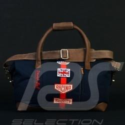 Sac de voyage Gulf Derek Bell signature bleu marine coton / cuir travel bag reisetasche