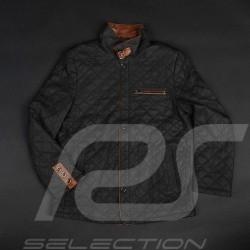 Veste cuir gentleman driver Derek Bell signature matelassée noire - homme leather jacket leder Jacke