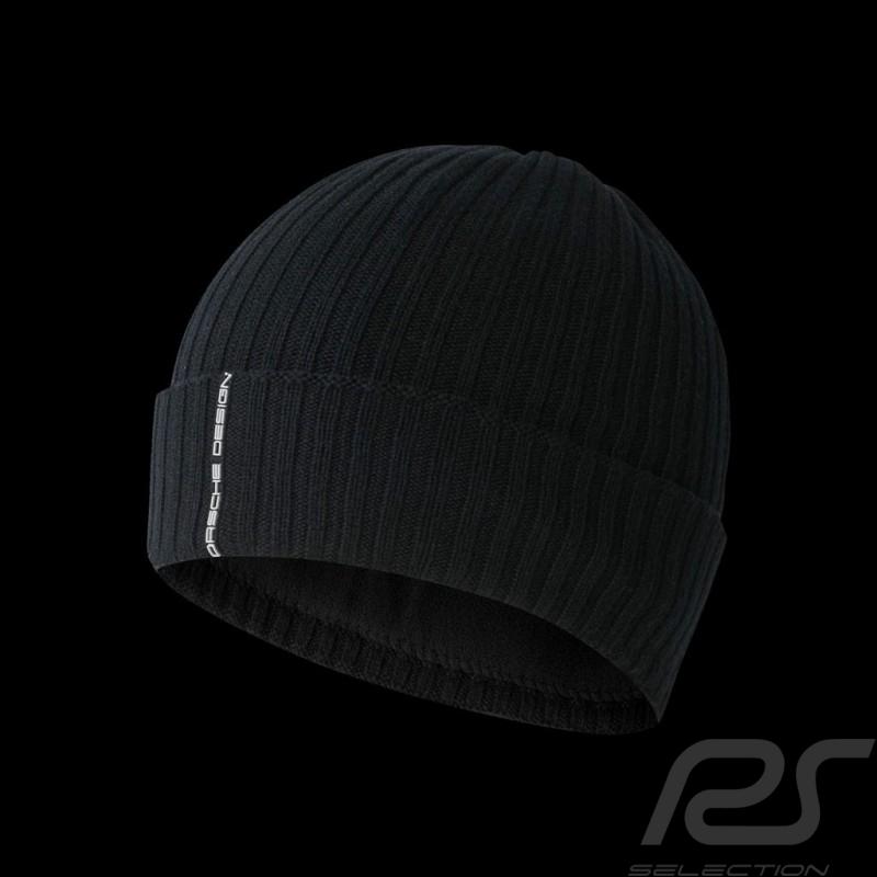 Bonnet Porsche à revers laine côtelée noir Adidas Porsche Design BR9045 lapel beanie Revers Mütze wool wolle
