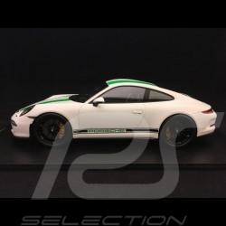 Porsche 911 R type 991 2016 1/18 Spark 18S236 blanc bandes vertes white green stripes weiß grun streifen