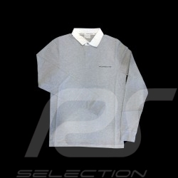 Porsche polo shirt Classic light grey / white collar long sleeves Porsche Design WAP916 - men