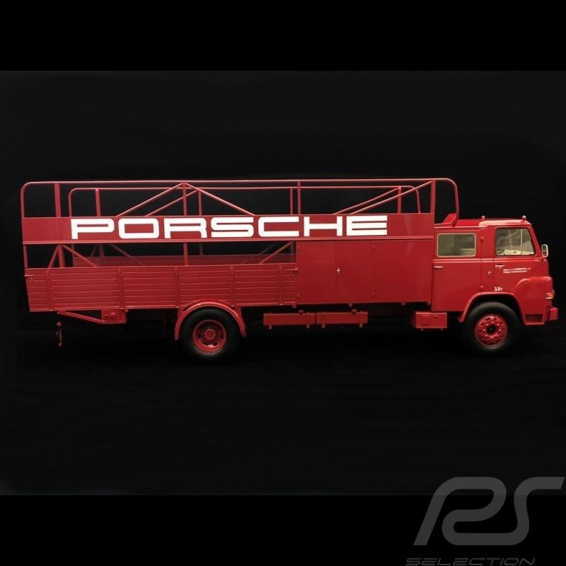 Camion MAN 635 Diesel 1960 transporteur Porsche rouge 1/18 Schuco 450008100 carrier truck LKW-Träger