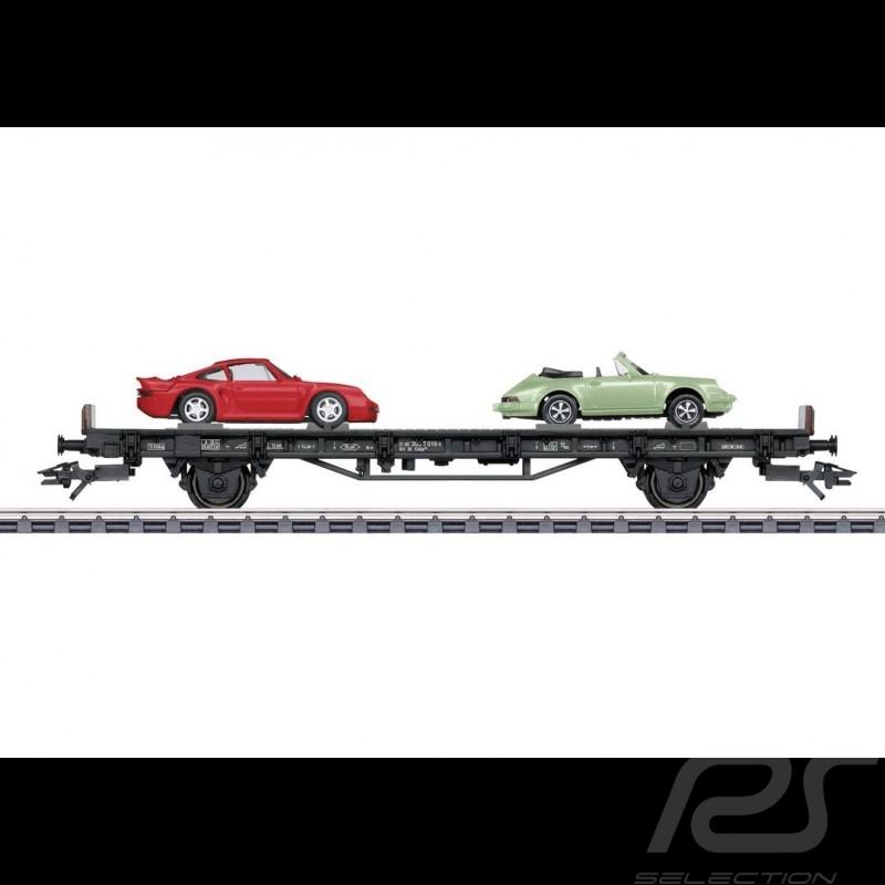 Wagon Porsche 70 ans Les années 80 Porsche Märklin HO 1/87 MAP10708018 4505 Auto Transport Car Autotransportwagen