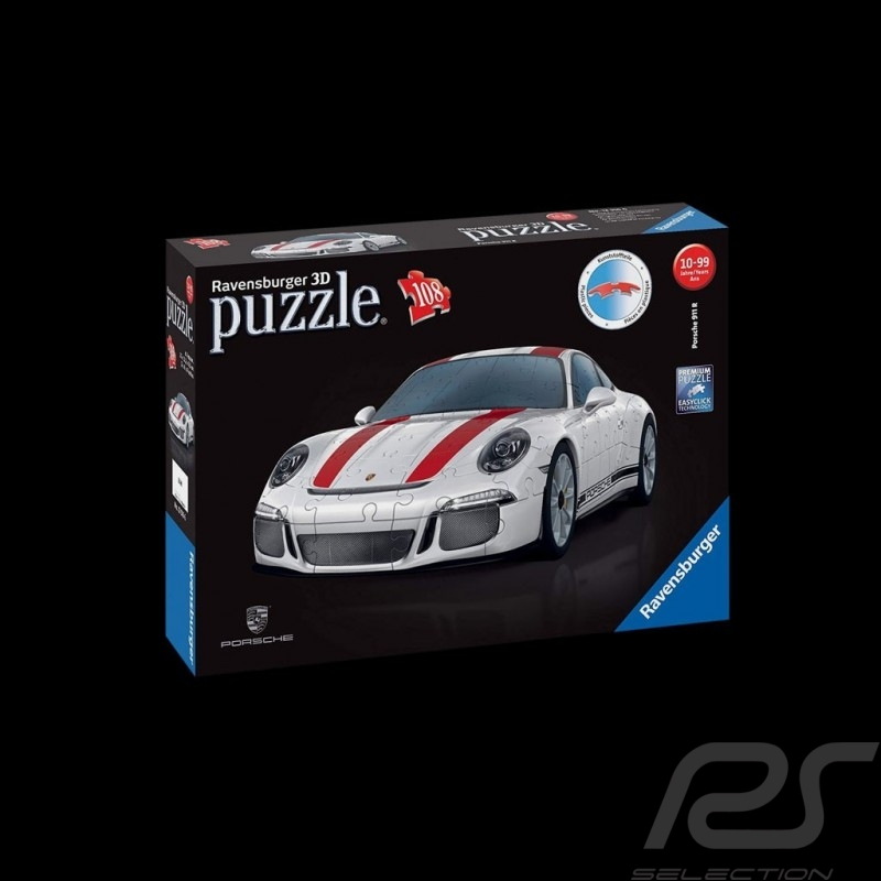 Puzzle Porsche 3D 911 R 108 pièces 1/18 Ravensburger 125289 MAP07024018 blanche / rouge white / red weiß / rot