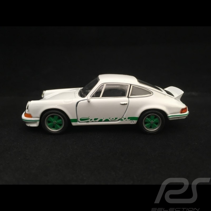 Porsche 911 Carrera RS 2.7 jouet à friction Welly blanc / vert pull back toy Spielzeug Reibung white weiß
