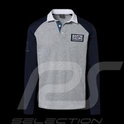 Porsche polo Shirt Martini Collection grau / blau / weiße Kragen lange Armel Porsche WAP554K - Herren