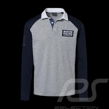 Porsche polo shirt Martini Collection grey / blue / white collar long sleeves Porsche WAP554K - men
