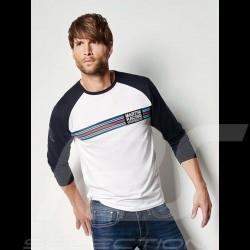 T-shirt Porsche Martini Collection blanc / bleu Porsche Design WAP553 manches longues long sleeves lang armel homme men herren