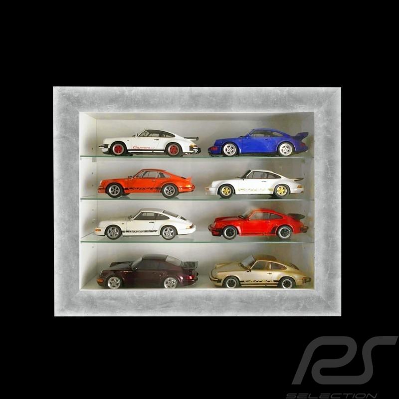 Vitrine murale pour 8 à 60 miniatures Porsche à l'échelle 1/43 1/24 1/18 - Gris Wall showcase Wandvitrine