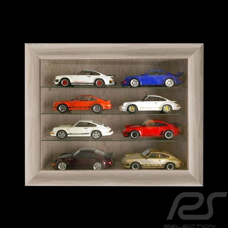 Vitrine murale pour 8 à 60 miniatures Porsche à l'échelle 1/43 1/24 1/18 - Chêne Oak Eiche Wall showcase Wandvitrine