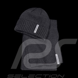Porsche Hat + Scarf Set ribbed wool charcoal grey Porsche Design WAP9400010K - Unisex