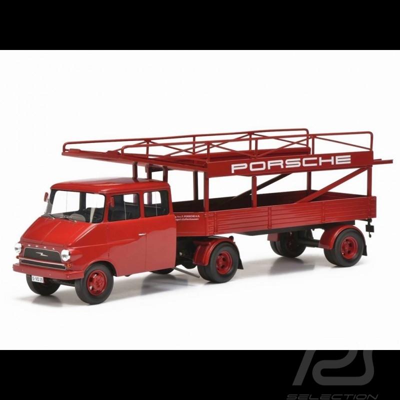 Camion Opel Blitz transporteur Porsche 1963 rouge 1/18 Schuco 450008400 Truck LKW-Träger