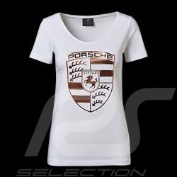 Porsche T-shirt riesen Wappen weiß / gold Porsche WAP822 - Damen