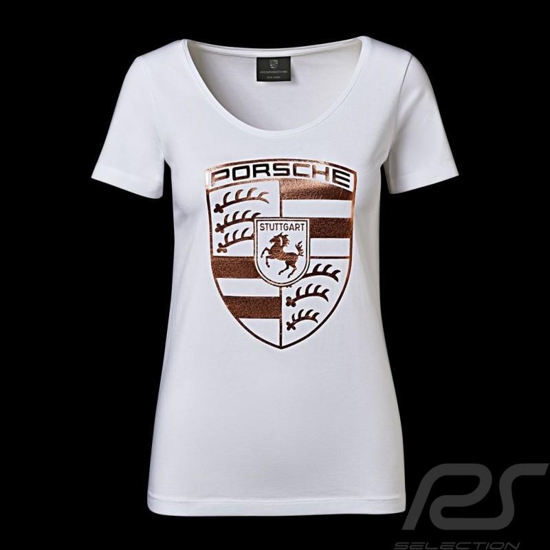 101e408e76ca0 Porsche T-shirt riesen Wappen weiß / gold Porsche Design WAP822 - Damen