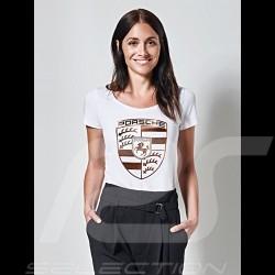 T-shirt Porsche écusson géant blanc / or Porsche Design WAP822 wappen crest femme women damen