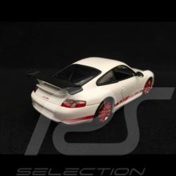 Porsche 911 type 996 GT3 RS 2004 1/43 Minichamps WAP02011114 blanche bandes rouges white red stripes weiß rote streifen