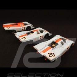 Set Porsche 917 K Le Mans 1970 Gulf JWA 1/43 Brumm R493 R494 R495