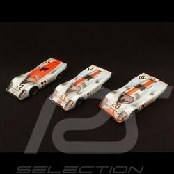 Set Porsche 917 K Le Mans 1970 Gulf JWA finish line 1/43 Brumm R493R R494 R495R