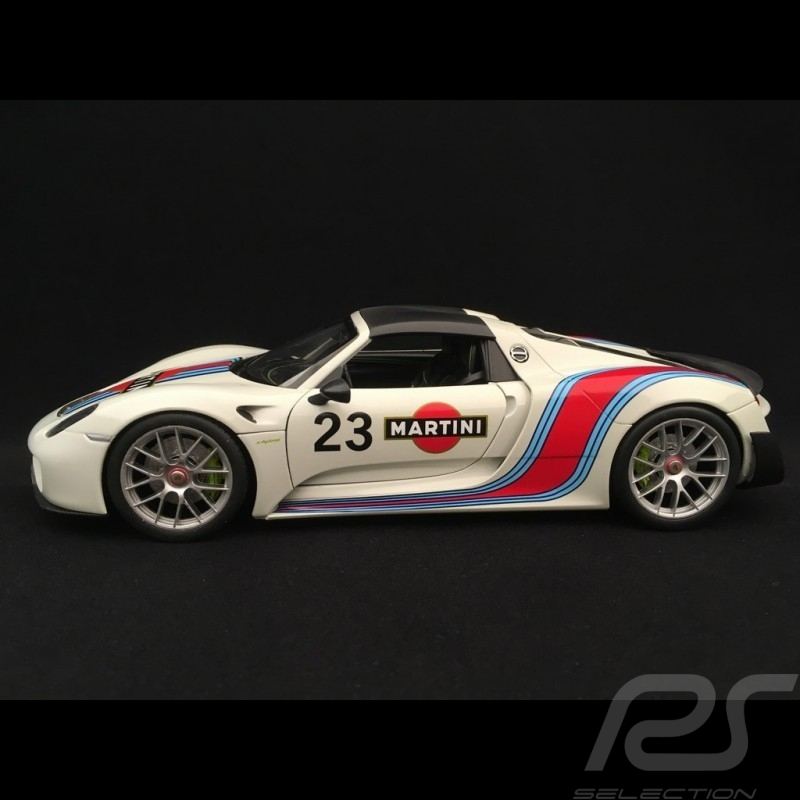 Porsche 918 Spyder Weissach Martini n° 23 blanc-gris 1/18 Welly MAP02184918