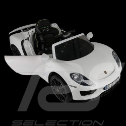 Voiture électrique porteur pour enfant 12V Porsche 918 Spyder Blanc Battery vehicle Batterie-auto